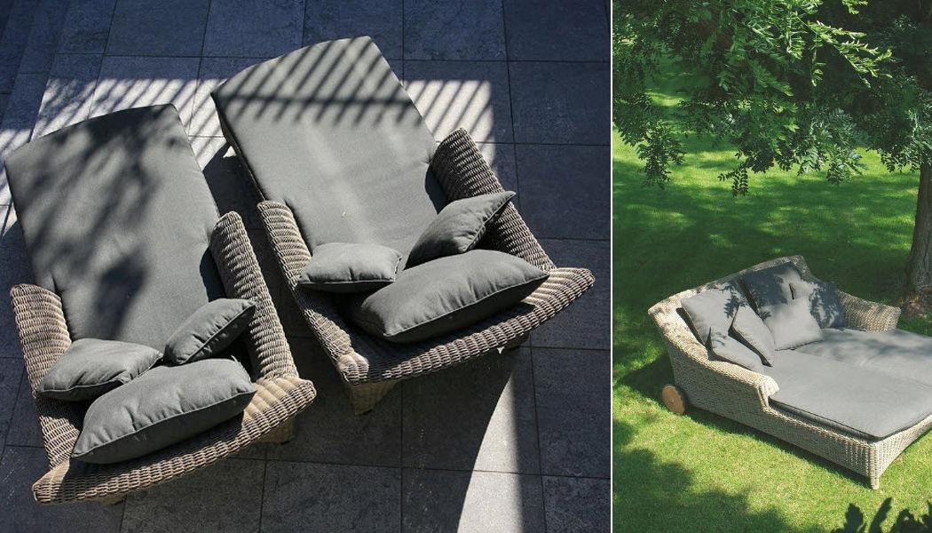 VIVENLA Bain de soleil double Chaises longues Jardin Mobilier  |