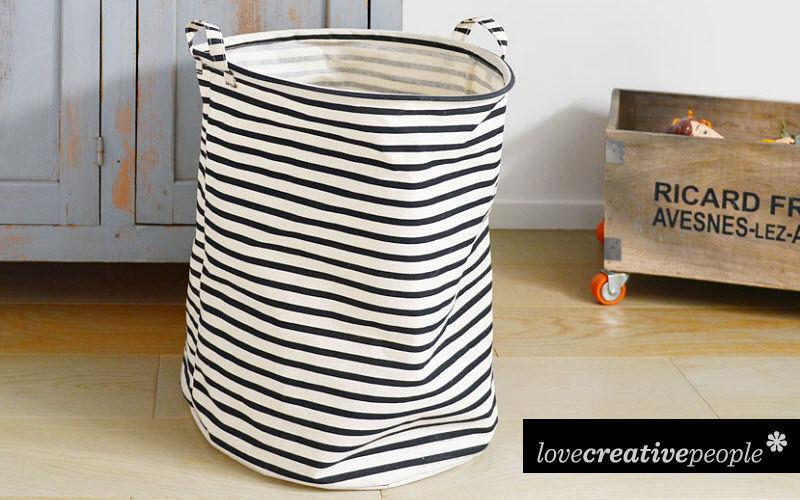Panier linge accessoires de salle de bains decofinder - Panier a linge sale 3 compartiments ...