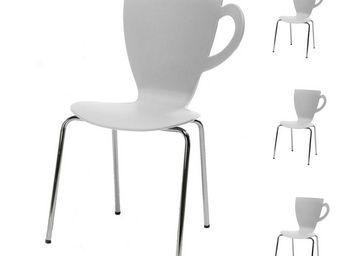 WHITE LABEL - quatuor de chaises blanches - mug - l 49 x l 53 x - Chaise