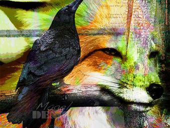 Magel'design - maître corbeau 120x120 cm , 3d effet relief - Tableau Contemporain