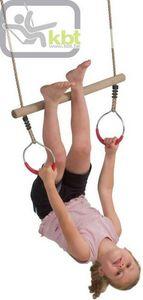 Kbt - trapèze en bois avec anneaux de gym corde polyprop - Agrès