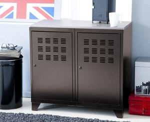 jardindeco - armoire de rangement en métal taupe 2 portes 40x80 - Armoire De Bureau