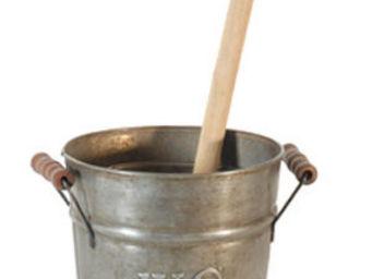 Antic Line Creations - seau en zinc avec brosse de toilette 16,5x23cm - Balayette Wc