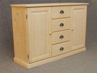 BARCLER - buffet en bois brut 2 portes 4 tiroirs 125x83x40cm - Buffet Bas