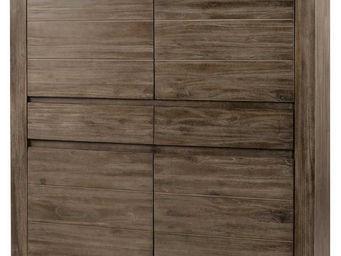 ZAGO - armoire 4 portes 2 tiroirs en teck massif teinté g - Homme Debout