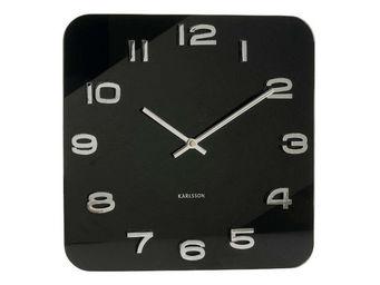Karlsson Clocks - horloge carr�e vintage noire en verre 35cm - Horloge Murale