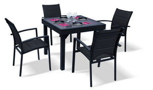 WILSA GARDEN - salon de jardin modulo noir 4 personnes en alumini - Table De Repas Carrée