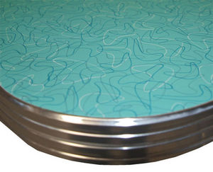 US Connection - table bga125 : formica aqua boomerang 76*107 - Plateau De Table Bistrot