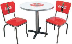 US Connection - set de diner coca cola : table & deux chaises - Coin Repas