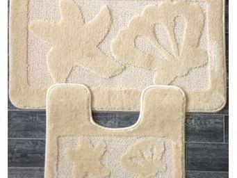 ILIAS - tapis salle de bain et toilette coquillage beige - Tapis De Bain