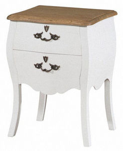 INWOOD - chevet baroque blanc style louis xv 45x36x62cm - Table De Chevet