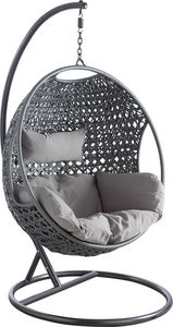 Aubry-Gaspard - fauteuil oeuf en polyr�sine sur pied - Balancelle