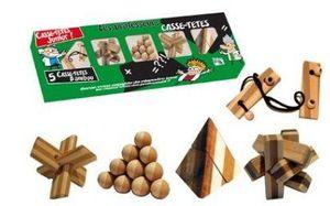 Gigamic - set de 5 casse-têtes bambou - Casse Tête