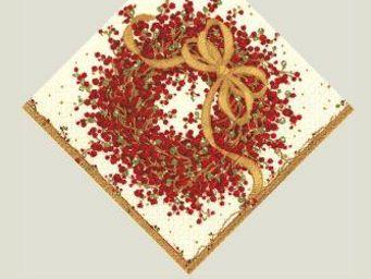 CASPARI - pepperberry paper cocktail napkins - Serviette De Noël En Papier