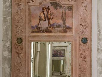 PROVENCE ET FILS - trumeau arte florentin /toile beige veilli et 5 pe - Trumeau