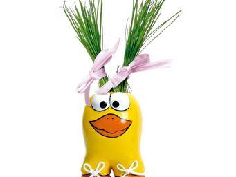 Radis Et Capucine - céramique canard avec cheveux en gazon - Potager D'intérieur