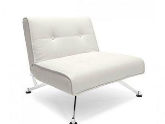 INNOVATION - fauteuil lit design clubber blanc convertible 113* - Fauteuil Bas