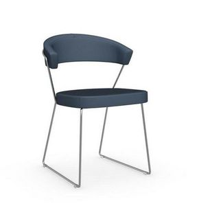 Calligaris - chaise design new york en cuir bleu et acier chrom - Chaise