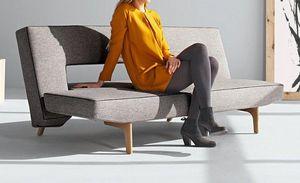 INNOVATION - canapé design puzzle wood gris convertible lit 110 - Banquette Clic Clac