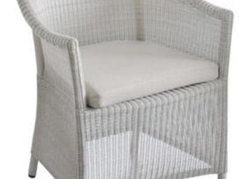 PROLOISIRS - fauteuil chicory en résine tressée blanche 61x60x8 - Fauteuil De Jardin