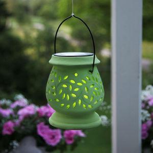Best Season - clay lantern - lanterne solaire extérieur vert led - Lanterne D'extérieur