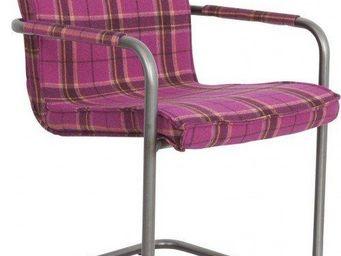 ZUIVER - fauteuil zuiver scotty tissu écossais rose - Chaise