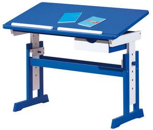 WHITE LABEL - bureau enfant bois massif blanc et bleu inclinable - Bureau Enfant