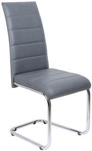 COMFORIUM - chaise simili cuir gris et piétement acier chromé - Chaise