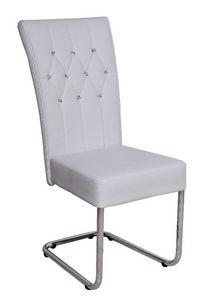 COMFORIUM - chaise design coloris blanc avec strass - Chaise