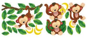Wallies - stickers chambre bébé 4 singes - Sticker Décor Adhésif Enfant