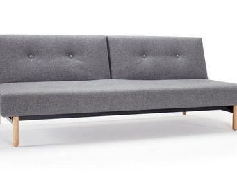 INNOVATION - canape lit design asmund gris convertible 115*200 - Banquette Clic Clac