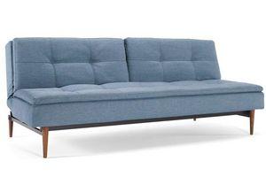 INNOVATION - canapé design dublexo bleu indigo pieds noyer fonc - Banquette Clic Clac