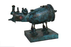 ARTBOULIET - rhino bleu - Sculpture Animalière