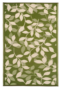 FABHABITAT - tapis intérieur extérieur bali crème et vert forêt - Tapis Contemporain