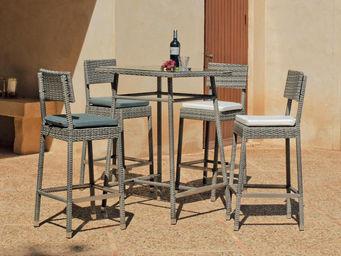 HEVEA - table haute et chaises en résine almara - Salle À Manger De Jardin