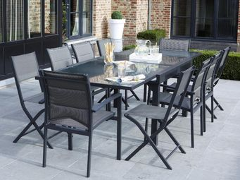 WILSA GARDEN - salon de jardin modulo 1 table + 4 fauteuils + 4 c - Salle À Manger De Jardin