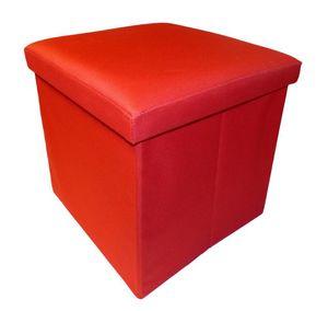 Cotton Wood - pouf pliable oxford rouge - Pouf