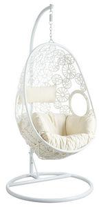 Aubry-Gaspard - fauteuil oeuf blanc en polyrésine sur pied - Balancelle