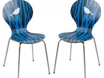 ID'CLIK - chaise design bleue angel nature 49x47x84cm (lot d - Chaise