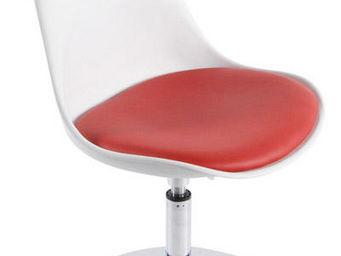 KOKOON DESIGN - chaise design en plastique blanc et similicuir rou - Chaise