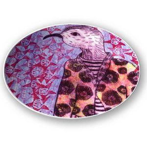 la Magie dans l'Image - assiette mon petit oiseau fond mauve - Assiette De Présentation