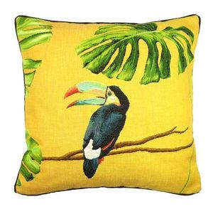 Art De Lys - toucan bec bleu, jungle fond jaune - Coussin Carré