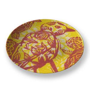 la Magie dans l'Image - assiette oiseau batik jaune - Assiette De Présentation