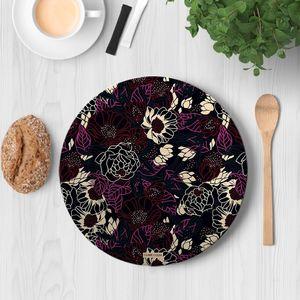 la Magie dans l'Image - assiette pivoines black red - Assiette De Présentation