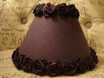 au petit coeur d'amour - roses violet - Abat Jour Conique