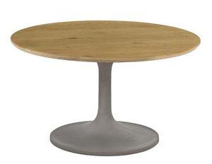 ZAGO - table basse béton et chêne iris - Table Basse Ronde