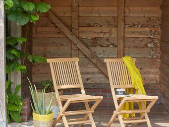BOIS DESSUS BOIS DESSOUS - lot de 2 chaises en bois de teck - Chaise De Jardin Pliante