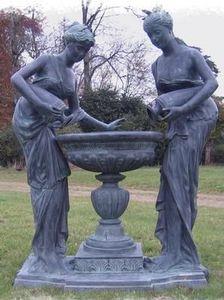 Esprit Antique - sculpture en bronze 2 femmes et vasque - Sculpture