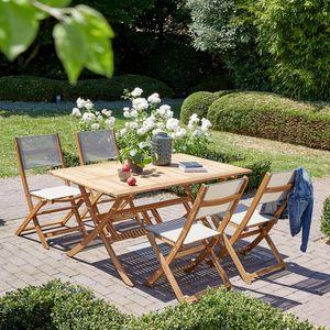 BOIS DESSUS BOIS DESSOUS - salon de jardin en bois d'acacia fsc 150x90 - Salle À Manger De Jardin