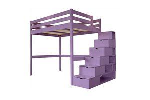 ABC MEUBLES - abc meubles - lit mezzanine sylvia avec escalier cube bois lilas 120x200 - Lit Mezzanine